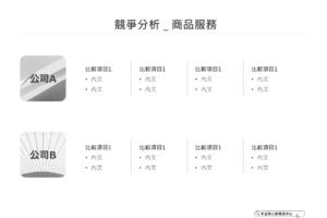 橫列圓方塊版 競爭分析-商品服務  PPT下載